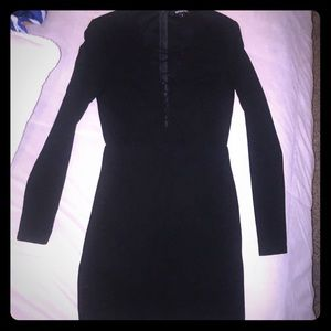 Misguided Size 8 black LS dress